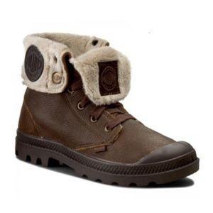 Palladium Brown Leather Sunrise Pilot Lace Up Boot